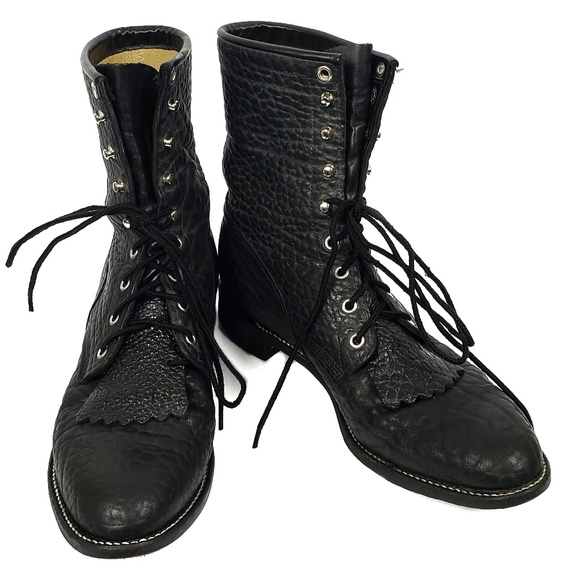 93104b132fa1d Justin | Lace Up Kilted Pebble Leather Cowboy Boot